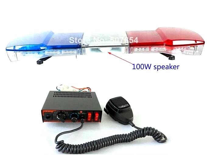 Vyšší hvězda 120cm, výstražná lišta 56W LED, policie Nouzová světla + 100W reproduktor + 100W sirénové zesilovače, vodotěsné
