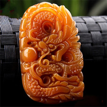 Drop Shipping YunNan HuangLong Jade Pendant Hand Carved Stone Dragon Necklace Lucky Amulet Fine Jewelry With Chain