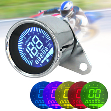 12V Universal Motorbike Motorcycle Instrument Display Oil Level Meter LCD Gauge Tachometer Digital Speedometer Sliver