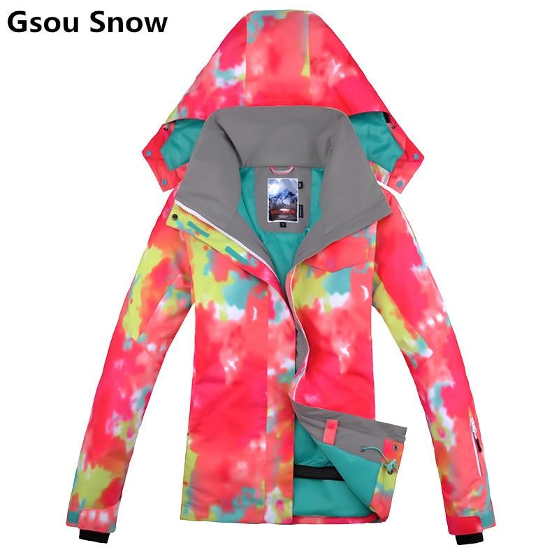 Gsou hiver chaud snowboard veste de ski femme combinaison de ski femme manteau de neige veste ski femme ski de montagne vêtements femme