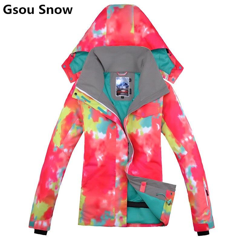 Gsou hiver chaud snowboard veste de ski femmes combinaison de ski féminin neige manteau veste ski femme montagne ski pour femmes vêtements