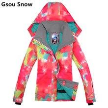 Gsou winter warm snowboard ski jacket women ski suit female snow coat veste ski femme mountain ski womens clothing