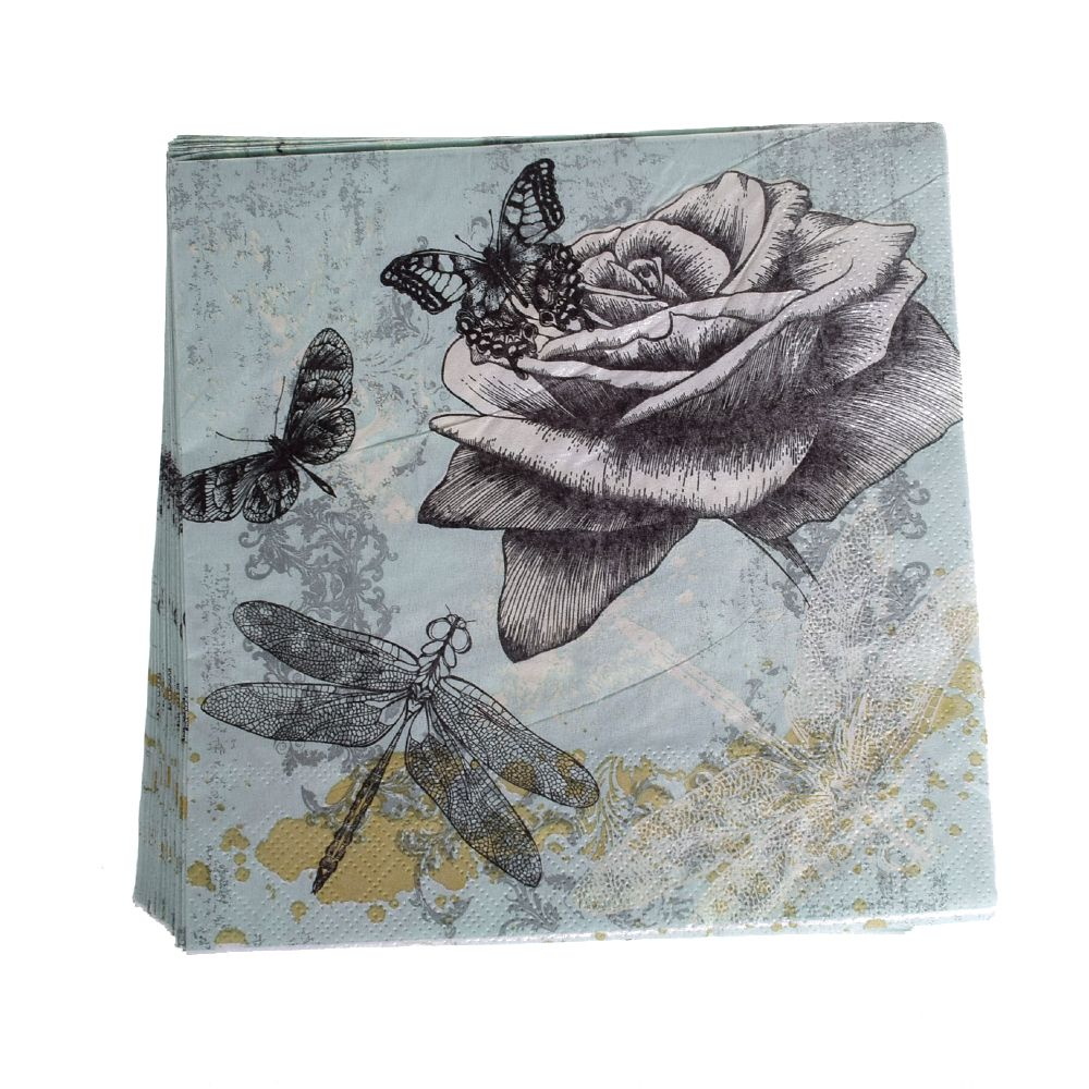 20Pcs / Bag Dragonfly Paper Towel Napkin Tissue Party Supply Home Decoration For Party Wedding Table Cloth
