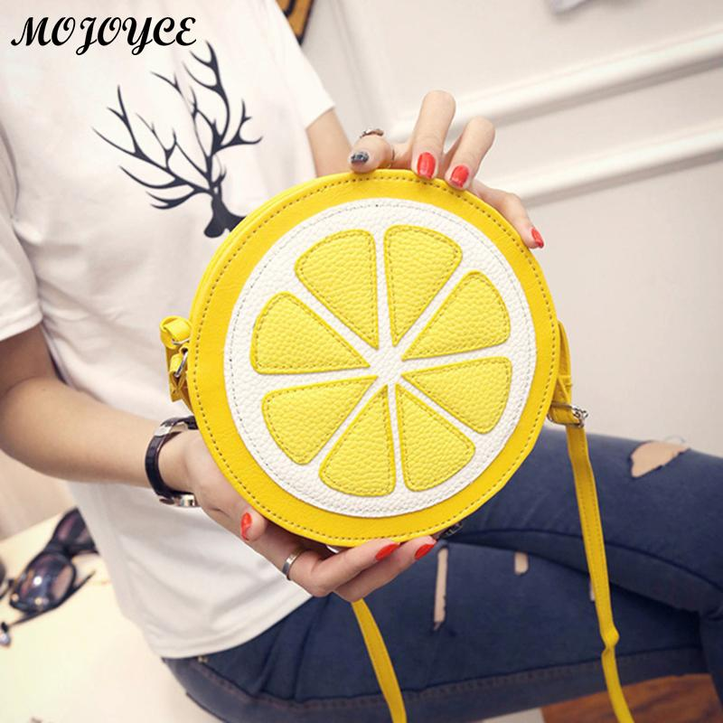 Women Round Lemon Pattern Crossbody Bag Simple Zipper PU Mini Satchel Shoulder Handbags Cute Yellow Shoulder Purse Bag 2018