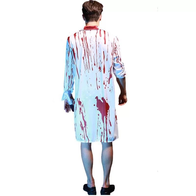 Adulte Unisexe Sanglante Zombie chirurgie Blouse Docteur Costume Halloween Robe Fantaisie