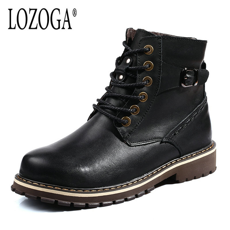 LOZOGA Mens Boots Genuine Leather Winter Boots For Men High Quality Plus Size 38-50 Lace-Up Motorcycle Boots Handmade Round Toe