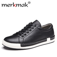Merkmak Handmade Men Shoes Brand Casual Shoes Solid Lace Up Retro Breathable Shoes Microfiber Leather Flats