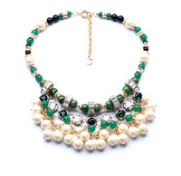 xl00928 Fashion Costume Jewelry Shinny Gold Summer Wholesale Women Beauty Chunky Coloured Glaze Short Choker Pearl Necklaces