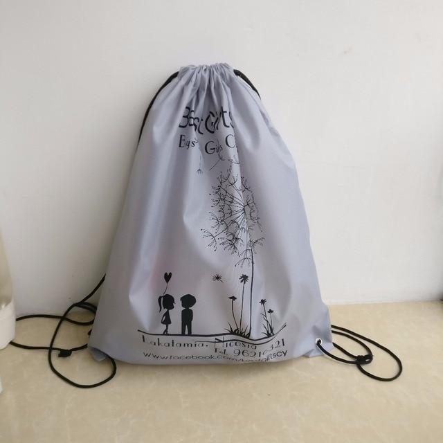 Wholesale 500PCS Lot 2018 Fashion kids backpacks DIY drawstring bags Custom  printed company logo Backpack Nylon Drawstring Bags ae5daa85f46d