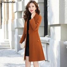 Верхняя одежда пальто весна осень Женское шерстяное пальто новая мода длинное шерстяное Пальто однобортное тонкое женское зимнее шерстяное пальто