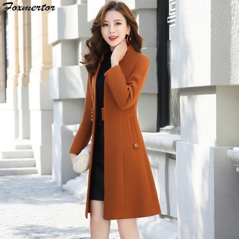 Outerwear Overcoat Spring Autumn Ladies Wool Coat New Trend Lengthy Woolen Coat Single Breasted Slim Sort Feminine Winter Wool Coats