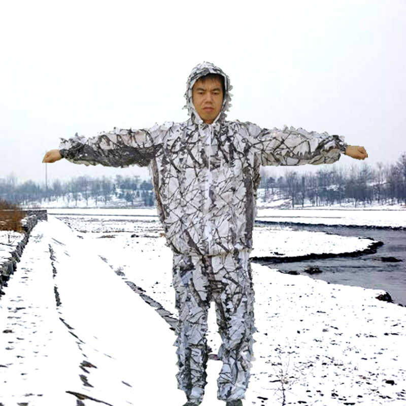 ace21ecdf7d84 Winter 3D white snow plum tree branches style camouflage ghillie suit  birdwatch airsoft hunting clothes include
