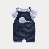 Zomer jongen baby boy outfit baby kleding [T-shirt + Overalls] bebe jongen kleding