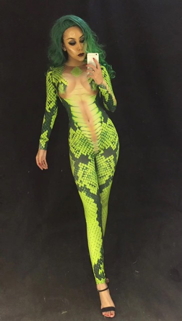 Women Halloween 3D Printed Green Snake For Costume DJ DS Singers Jumpsuit Bling Women Bodysuit Celebrate Performance Clothing