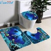 3 PCs Set Bathroom Non Slip Blue Ocean Style Pedestal Rug Lid Toilet Cover Bath Mat