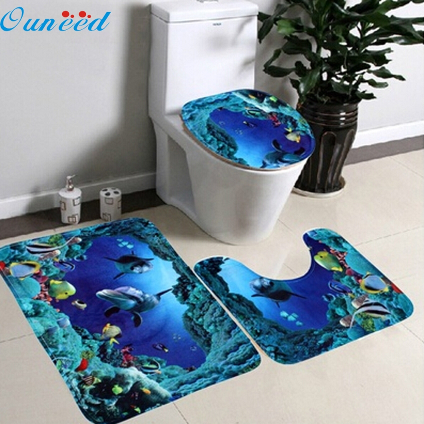 Ouneed 3 PCs/ Set Bathroom Non-Slip Blue Ocean Style Pedestal Rug + Lid Toilet Cover + Bath <font><b>Mat</b></font> Gifts Material #