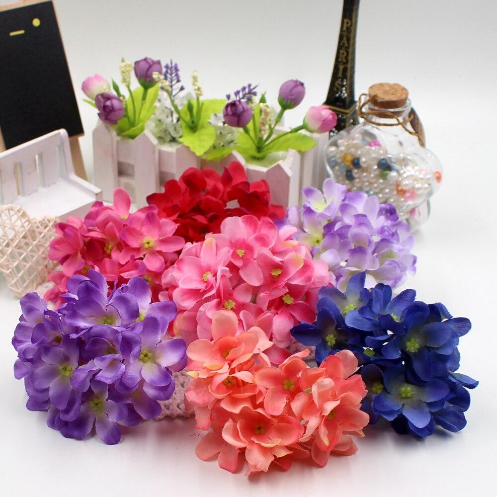 Nº2015 3cm 1set (12flower+1bunch) Silk Hydrangea Bouquet artificial ...