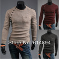 Pullover Sweater Men 2017 Spring Autumn New Lrregular Button Splicing Fashion Slim Pure Color Pull Homme knit Sweater