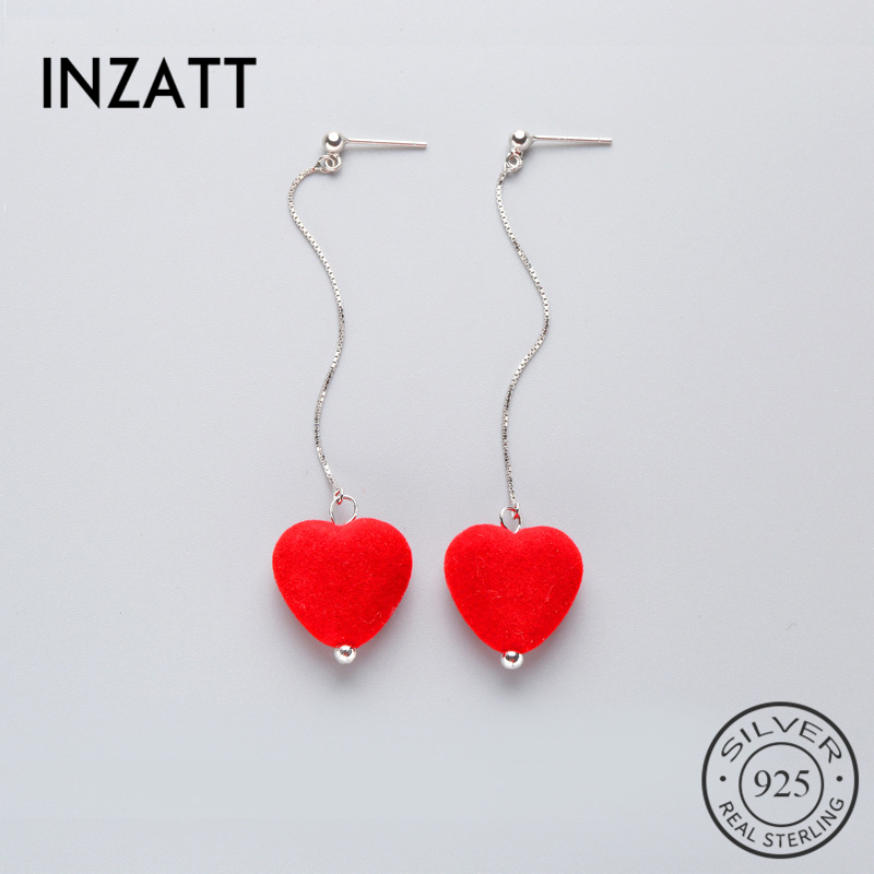 INZATT Romantic Real 925 Sterling Silver Drop Earrings Cute Velvet Creative New 100% High Qulitity Jewelry Bijoux For Women Gift