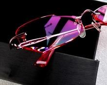Rimless Glasses Women Pink Optical Lenses 1.61 Aspherical Hard Multi Coated EXIA OPTICAL KD-10 Series