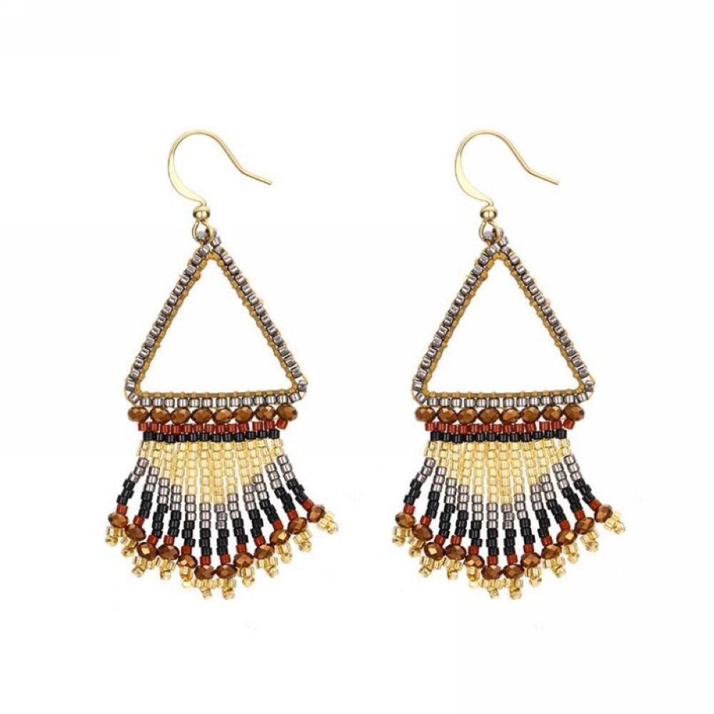 E0162 New Women Ethnic Handmade Tassel Beaded Dangle Earrings