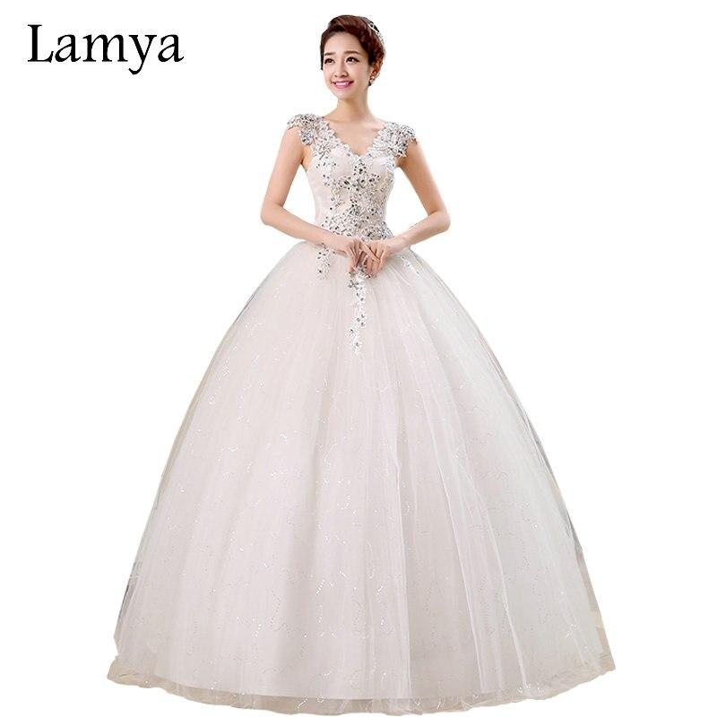 Plus Size Lace V-Neck Cheap Wedding Dress 2018 Summer Style Fashionable Sequined Bridal Gowns vestidos de novia WD2148