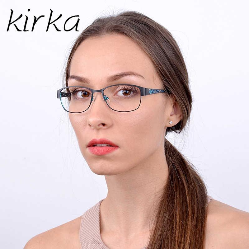 7239604dd0c0 Kirka Stainless Steel Elegant Women Glasses Frame Female Vintage Optical  Glasses Teacher Eyeglasses Frames Myopia Eyewear