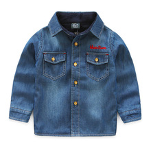 Retail next 2016 autumn boy baby's shirts with velvet handsome warming thick children's jeans shirts letter embroidered