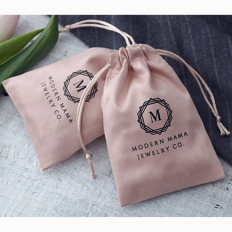 Drawstring-Bags Pouches Packaging Custom-Jewelry Logo Print Pink Flannel 100-Personalized