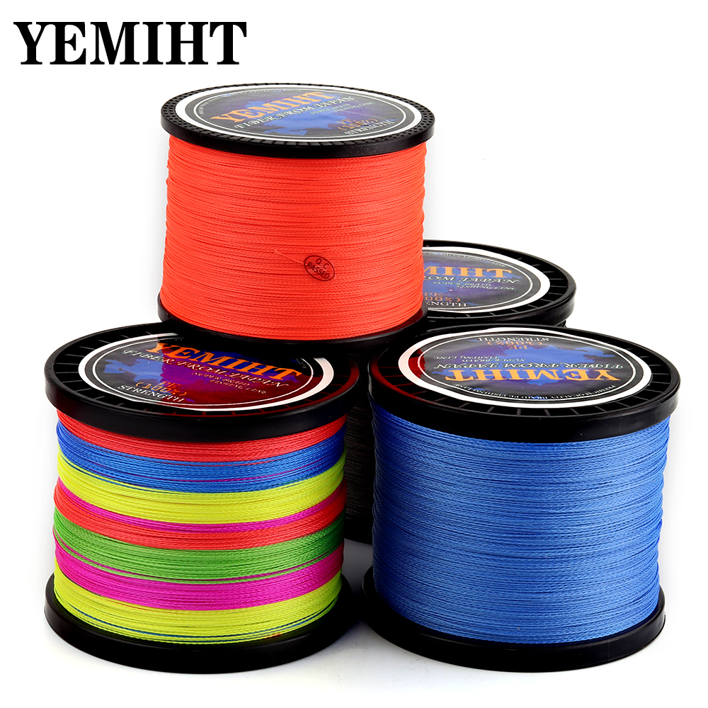 4 Strands 1000M 500M 300M YEMIHT PE Multicolor Braided Fishing Line 4 Weave Superior Extreme Strong 100% SuperPower