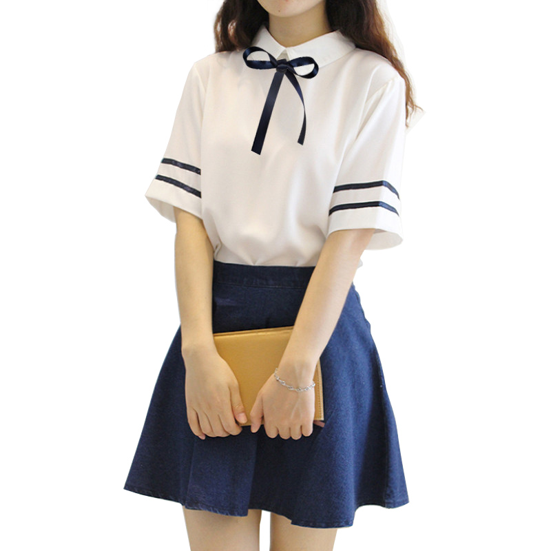 2018 Summer Short Sleeves Japanese School Uniform Girl Sailor Dress Red/Tibetan Blue Plaid Skirt Uniforms Japanese Korean Costum