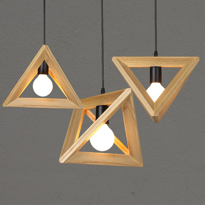 Nordic Triangle Solid Wood Restaurant Chandelier Creative Art Dining Room Light Bedroom Simple Cafe Bar Lamp Free Shipping 220v nordic wood art creative led wood lamps restaurant cafe living room bedroom bar solid wood match stick simple pendant light