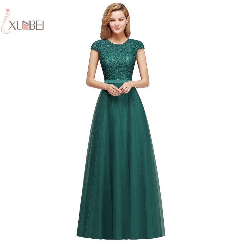 2019 Green Tulle Long   Prom     Dresses   Scoop Neck Cap Sleeve A line   Prom   Gown Vestido de gala