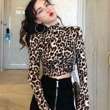 2019 New Fashion Sexy High Street Ladies Zebra Leopard Animal Print Shirts Women Turtleneck Long Sleeve Stretch Female Top