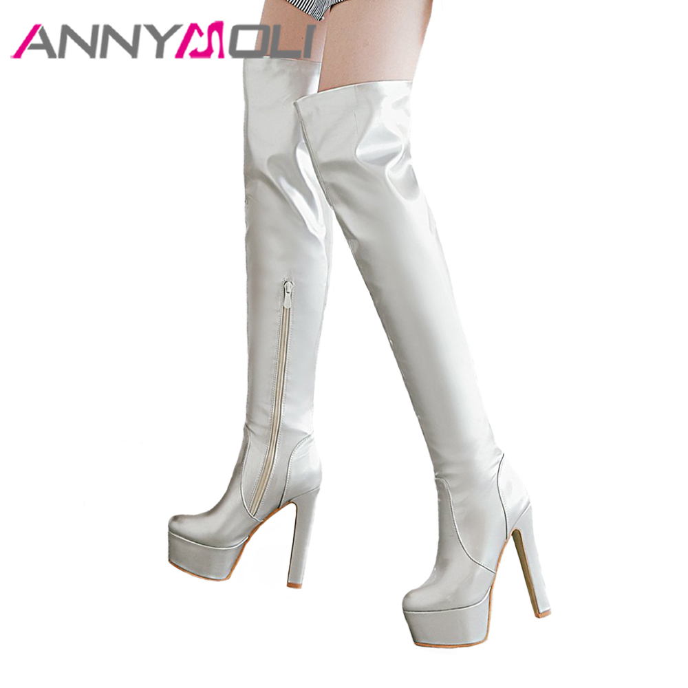 ANNYMOLI Winter Over the Knee Boots Women Patent Leather Boots Platform Extreme High Heel Boots Zipper Tall Ladies Shoes Black цена