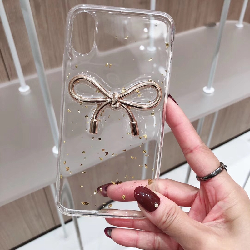 Tfshining Fashion Bow Tie Phone Cases For iphone X XR XS Max 6 6s 7 8 Plus Gold Foil Glitter TPU Clear Cover Coque For Girls Hot in Fitted Cases from Cellphones Telecommunications