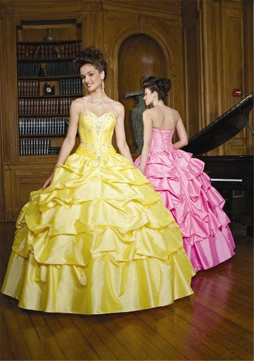 Fashion Yellow White Pink Princess Ball Gown Quinceanera Dresses ...
