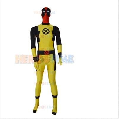 New Custom Yellow Deadpool Costume spandex full body Superhero Zentai suit halloween cosplay costume Sell cheap