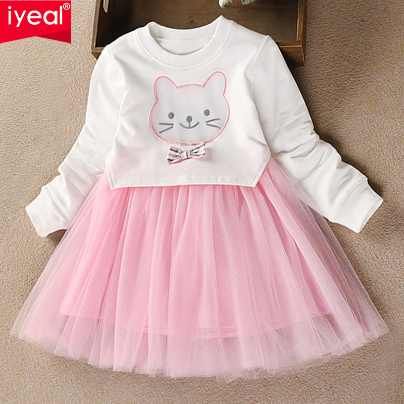 IYEAL New Girls Dress Autumn Children Princess Clothes Casual Cartoon Long Sleeve Baby Kids Dresses for Girls 3 4 5 6 7 Years children s spring and autumn girls bow plaid child children s cotton long sleeved dress baby girl clothes 2 3 4 5 6 7 years