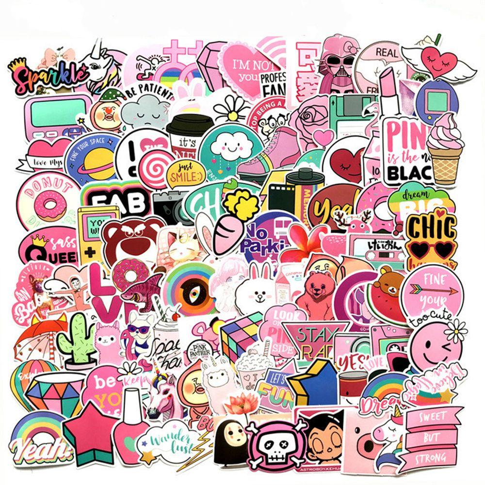 11 Stks Pvc Waterdichte Roze Meisjes Fun Sticker Laptop Kid Skateboard Motorfiets Meubelen Laptop Bagage Decals Briefpapier Stickers Volume Groot