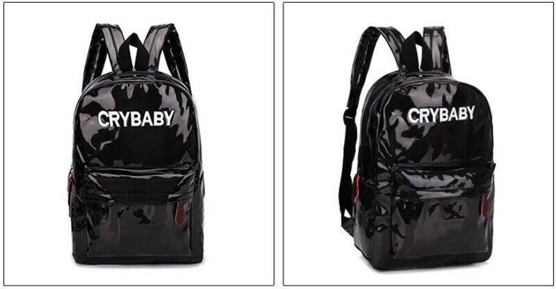 HTB1jqrbbBCw3KVjSZR0q6zcUpXaI Yogodlns 2019 Holographic Laser Backpack Embroidered Crybaby Letter Hologram Backpack set School Bag +shoulder bag +penbag 3pcs