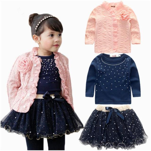 bc4e65f941 Stylish 3 pcs Set Toddler Girls Coat+T shirt+Skirt Dress Tutu Set ...