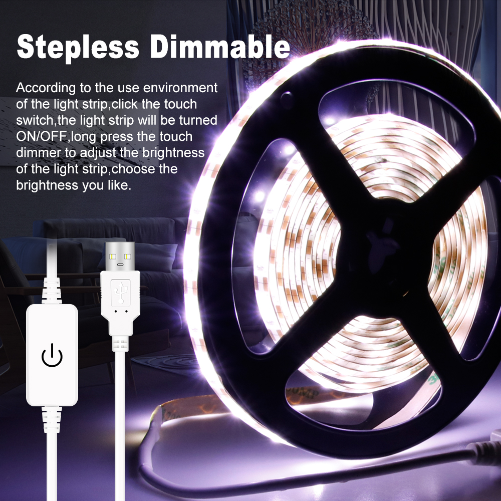 LED Strip Lamp USB 5V Led Light 2835 Flexible Waterproof Tape Tira Fita 1-5M for Kitchen Bathroom Dimmable
