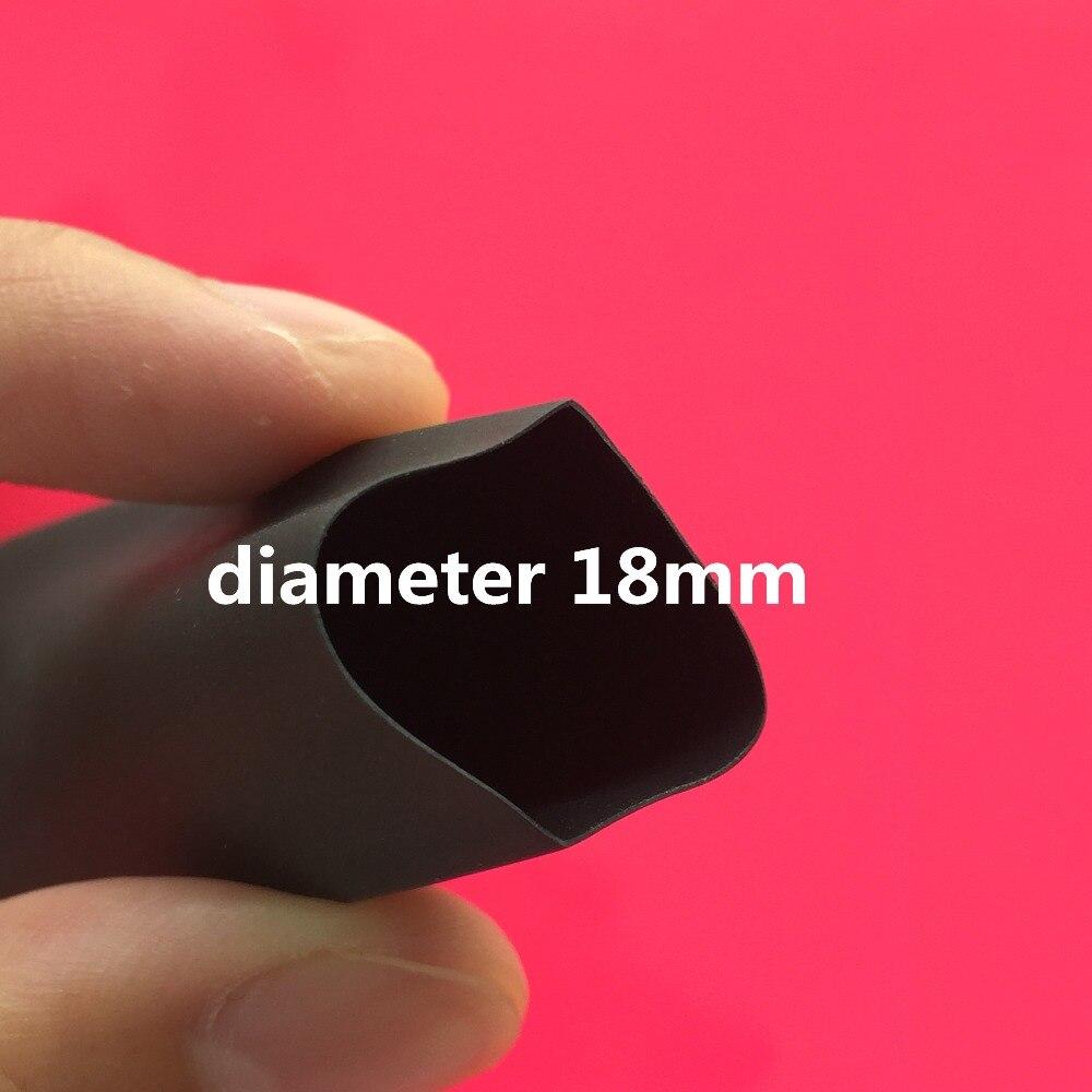 1meter L66Y 2:1 Black Color Diameter 18mm Heat Shrink Heatshrink Tubing Tube Sleeving Wrap Wire Conduct Parts