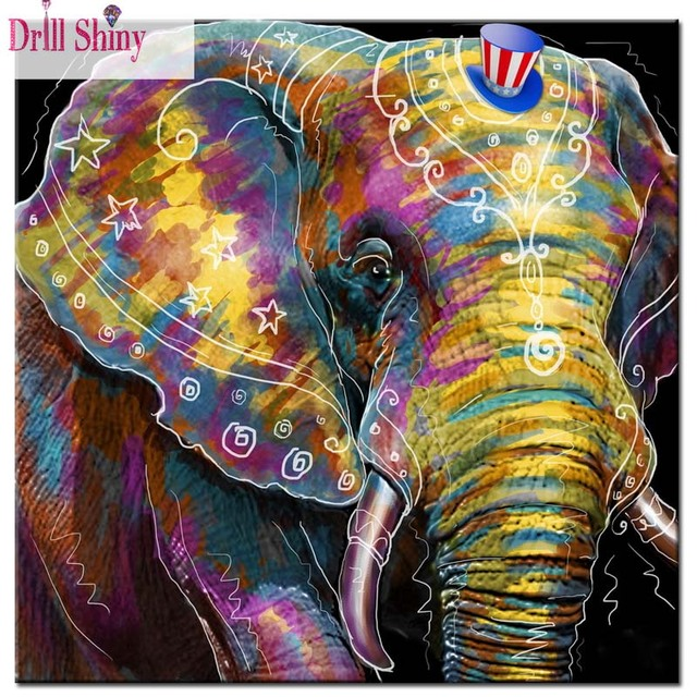 2017 NEW DIY diamond painting Lovely cartoon animals Color Elephant ...