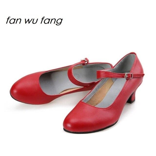 712ee5f39 Fan wu fang 2017 Chegada Nova Microfibra Sapatos de Dança De Salão Latina  Tango Sapatos de