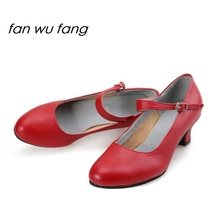 fan wu fang 2017 New Arrival Microfiber Ballroom Dancing Latin Shoes Tango Social Dance Shoes Women Ladies Heel 4CM 813
