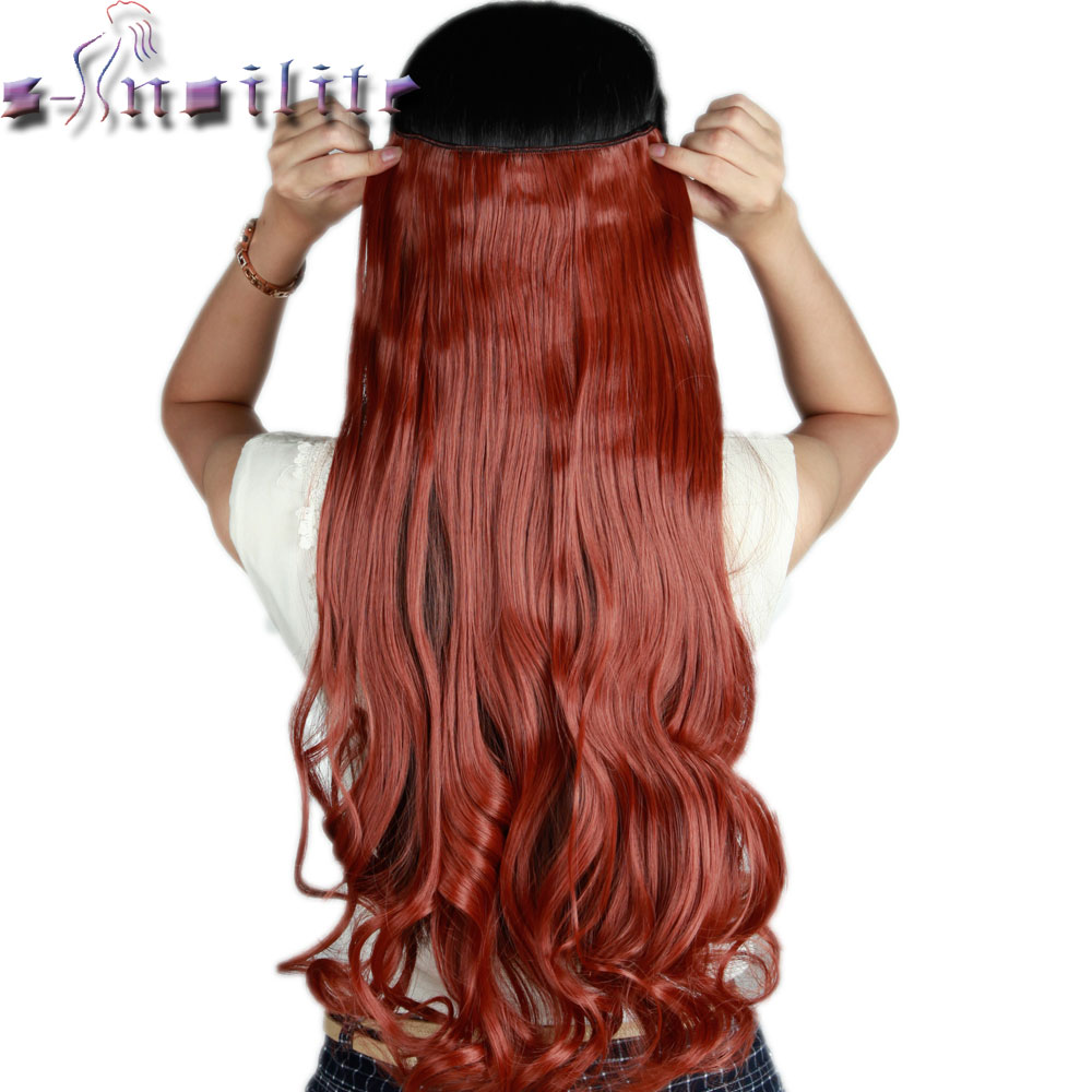 """S-noilite 61CM 24"""" RED BROWN Curly wavy Long One Piece Clip in Hair Extensions Real Natural Synthetic hair Extension US SHIPPING"""