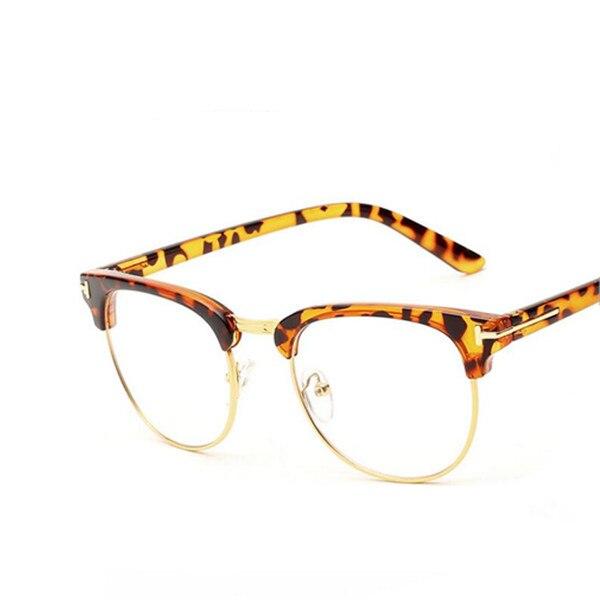 02bf7068eb307 Novo Designer De Ouro Semi Óculos Sem Aro Homens Óculos Moda Retro Mulheres  Negras Óculos de Armação Clara Lente Eyewear Vintage em Armações de óculos  de ...