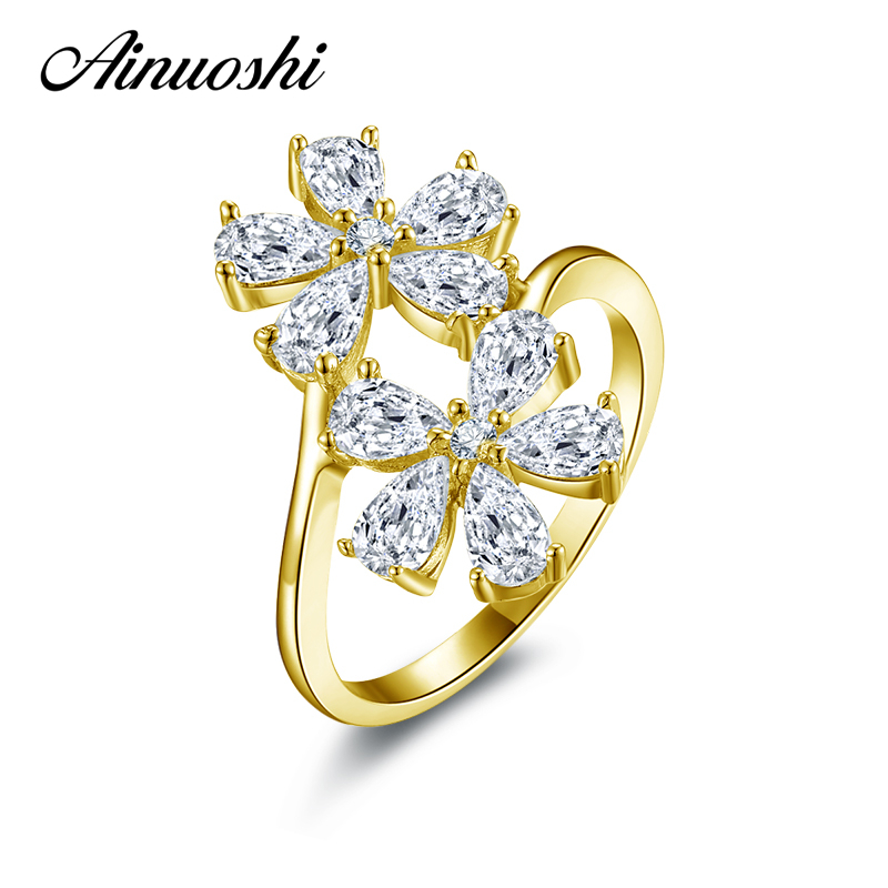 AINUOSHI 14K Solid Yellow Gold Flower Ring Vintage Micro Pear Cut Simulated Diamond Wedding Engagement Cluster